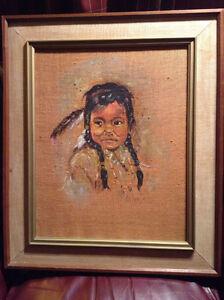 OIL PASTEL PAINTING BURLAP VINTAGE Art Signed LECLERC Aboriginal