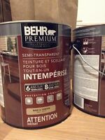 2 BEHR Teinture Rouge Grange / 2 BEHR Barn Red Wood Stain
