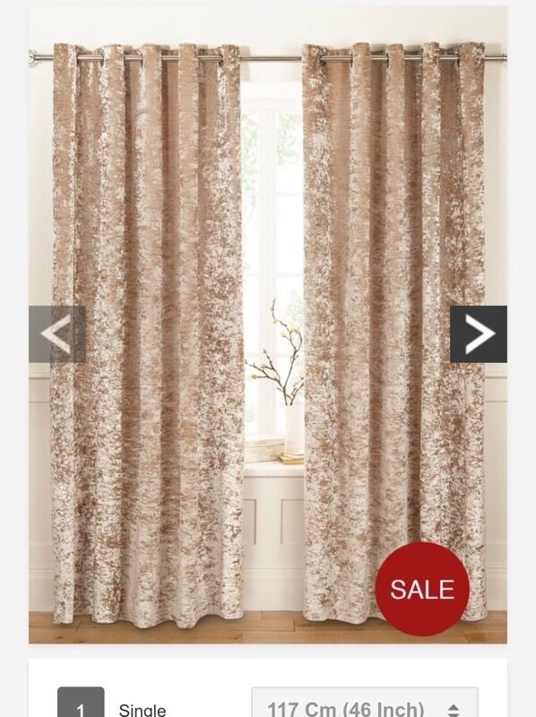 Crushed velvet cream gold curtains 46