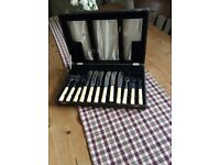 Vintage boxed bone-handled 12-piece fish knife and fork set