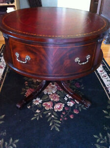 English Rotating Mahogany Drum Table With Embossed Leather Top Peterborough Peterborough Area image 1