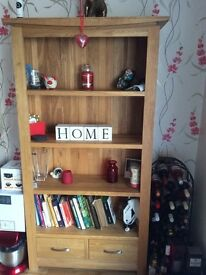Solid oak tall bookcase