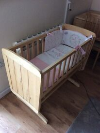 Mothercare deluxe gliding crib, mattress and bedding