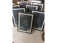 "Eight 7x5"" black Photo frames"