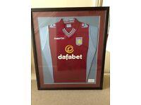 Signed by Ron Vlaar Aston Villa shirt framed