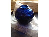 Beautiful glassware fish bowl shaped vase- dark blue