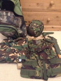 Kids Army dressing up bundle; overall, hat, waistcoats, bag etc- used