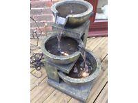 Medium granite effect three bowl water feature