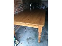 Large Solid Pine Farmhouse Table 6 ft x 4 ft