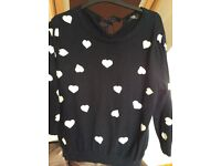 Navy and white heart print jumper