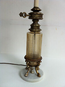 Shabby Chic Table Lamp Amber Glass Marble Base 1970s Peterborough Peterborough Area image 4