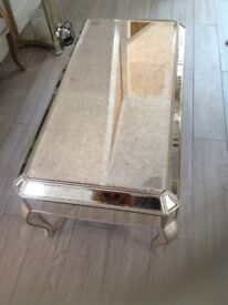 Antique mirrored glass coffee table
