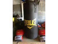Everlast punchbag and training boxing gloves