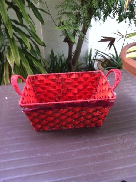 Red rattan tray. In good condition.