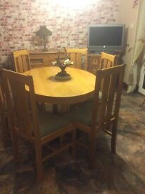 Solid oak table and six chair purchased from Fultons