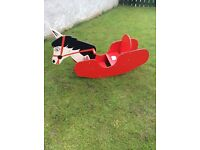 Vintage solid hand made child's rocking horse suit 18months up