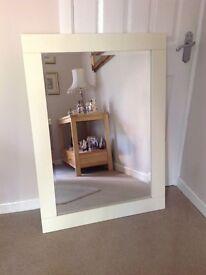 Cream wooden surround bevelled mirror