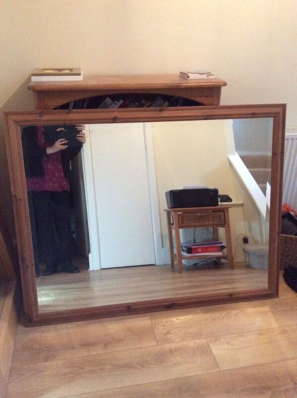 "Large pine bevelled mirror size 53"" x 41"""