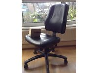 Ikea VERKSAM swivel office work chair (originally cost me £200) (Black, leather, coasters)