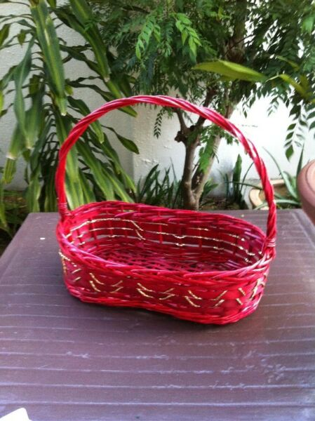 Big red rattan basket dimension 47 x 23 x 15cm. In good condition.