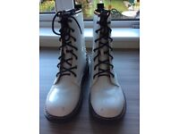 White patent Doc Martin style boots