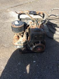 Vintage petrol pressure washer and jerry can