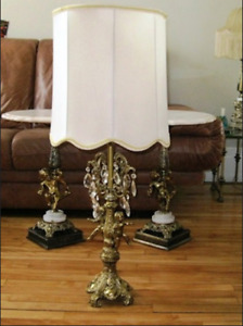 Grande Lampe de table Antique Tall  Table Lampe, Crystal & Brass