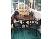 Italian green table and chairs