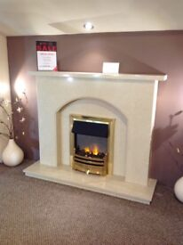 Plain Arch Complete Fireplace in Coral Cream Micromarble