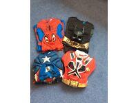 Four superhero suit bundle age 5-6years