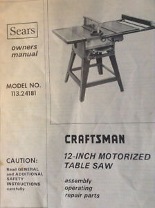 12 in Craftsman table saw