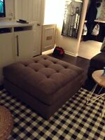 Large grey tufted ottoman - REDUCED