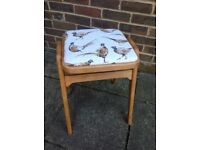 Refurbished solid kitchen stool pheasant top