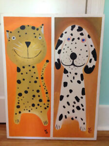 Cute cat and dog painting on canvas