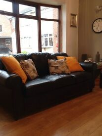 £15 Black leather look 3 seater sofa