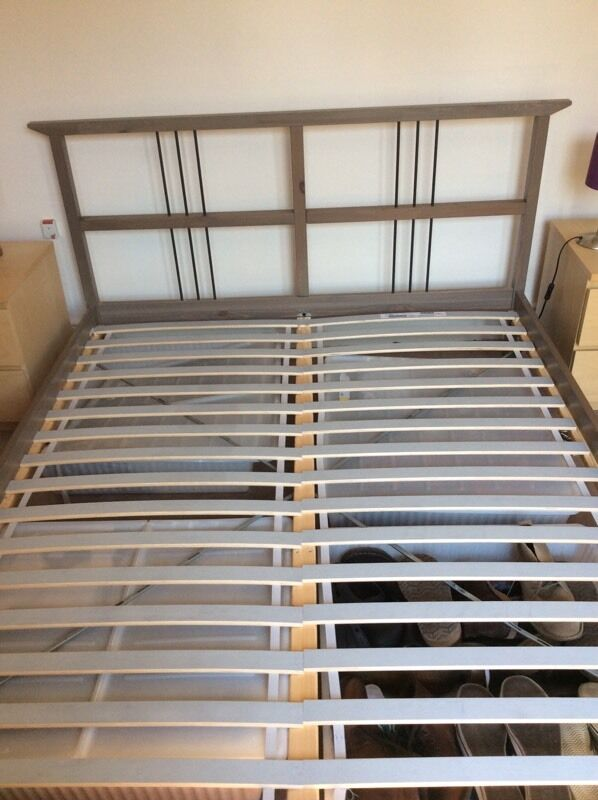 IKEA king size wooden bed frame and slats