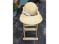 Pine coloured solid wood high chair good condition folds up