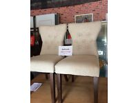 Pair of luxury upholstered chairs, new, cream, dark wood legs