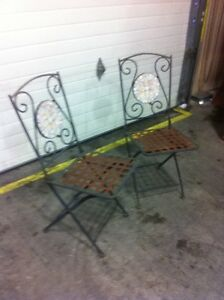 2- vintage bistro folding chairs
