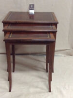 253: Set of Three Vintage Leather Top Nesting Tables