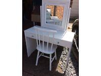 White dressing table with mirror and chair