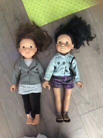 Lovely x2 large designer friend dolls with accessories