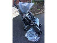 maclaren grey quest pushchair with rain cover