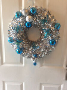 Silver and Aqua Butterflies and Balls Wreath -Brand New!
