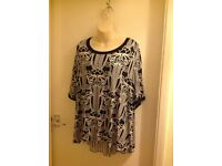 Women's Top from Simply Be size 28 - Black & White Print with attractive panel insert at the back