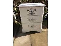 Single bedside unit with hand painted stencils