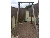 Single Wooden PLUM swing with extra trapeze attachment