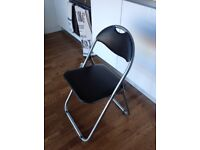 Folding Faux Leather Steel framed Chair