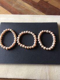 X3 fresh water Pearl stretch bracelets