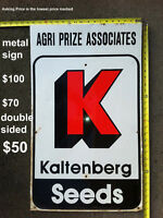 CLEARANCE - MAKE OFFER - Kaltenberg Seeds DOUBLE SIDE METAL Sign